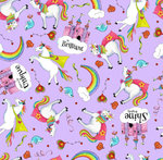 PARTY LIKE A UNICORN. Unicornios en fondo morado.